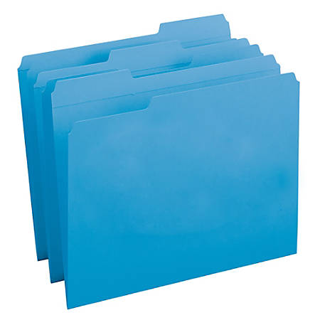 Smead® Color File Folders, With Reinforced Tabs, Legal Size, 1/3 Cut, Blue, Box Of 100