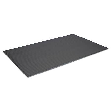 Crown Ribbed Vinyl Anti-Fatigue Mat, 2' x 3', Black