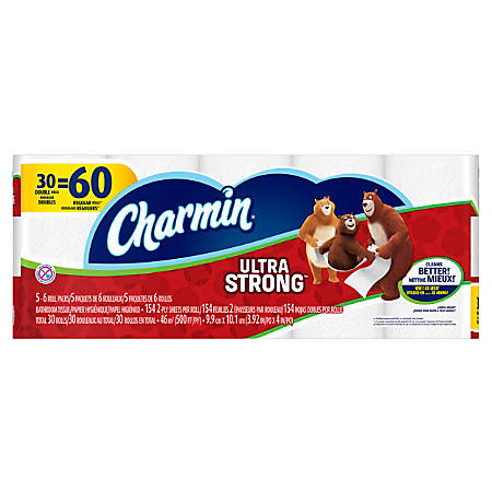 Charmin® Ultra Strong 2-Ply Bathroom Tissue, White, 154 Sheets Per Roll, Pack Of 30 Rolls