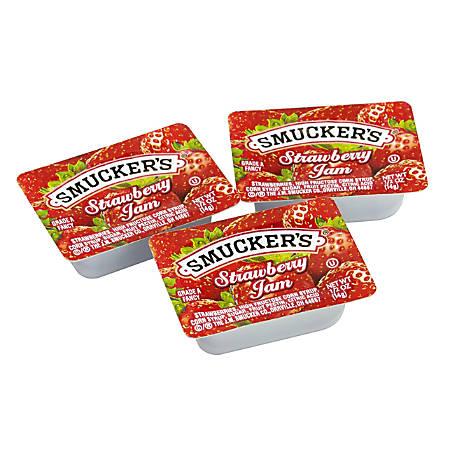 Smucker's Single-Serve Jam Packs, Strawberry, 0.5 Oz, Pack Of 200 Tubs