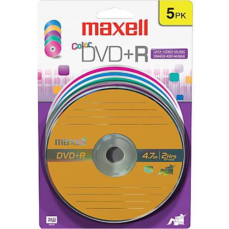 Maxell 16x DVD+R Media - 4.7GB - 120mm Standard - 5 Pack Blister Pack