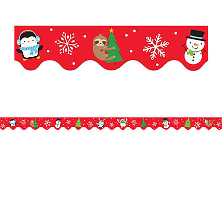 "Amscan Christmas Character Bulletin Board Border Trims, 2-1/4"" x 39"", Red, 12 Trims Per Pack, Case Of 3 Packs"