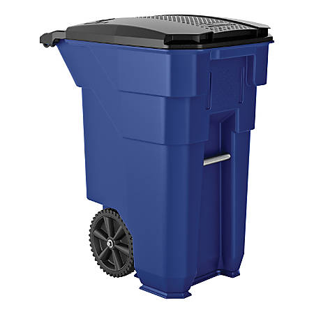 """Suncast Commercial Wheeled Square HDPE Trash Can, 50 Gallons, 38-1/2""""H x 23-5/16""""W x 30""""D, Blue"""