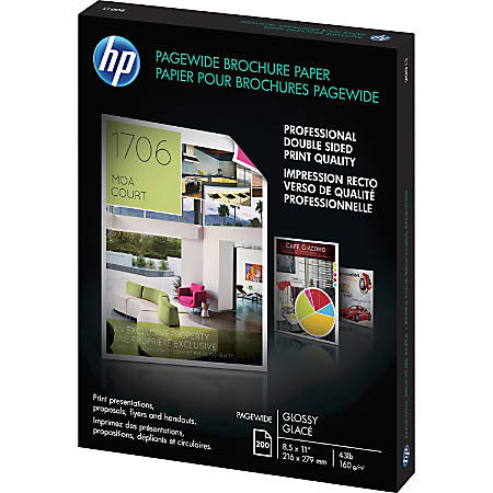 "HP Brochure/Flyer Paper - 8 1/2"" x 11"" - Glossy - 200 / Pack - White"