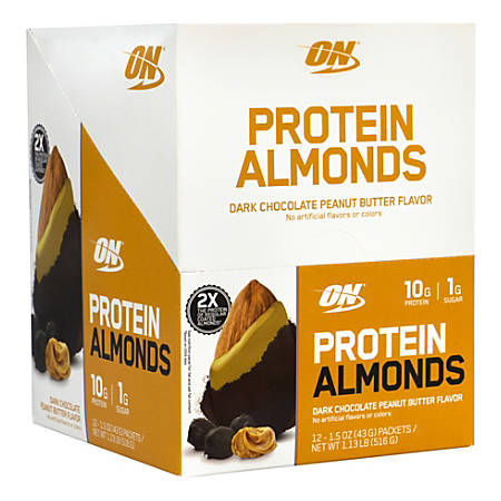 OPTIMUM NUTRITION Protein Almonds Dark Chocolate Peanut Butter, 1.5 oz, 12 Count
