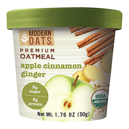 Modern Oats Organic Premium Oatmeal Cups, Apple Cinnamon Ginger, 1.76 Oz, Pack Of 12