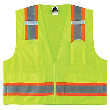 Ergodyne GloWear Safety Vest, 2-Tone Surveyors, Type-R Class 2, 4X/5X, Lime, 8248Z
