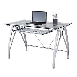 Unique White Glass Desk with Drawers