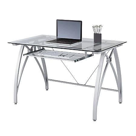 Cool Realspace Vista 48W Glass Computer Desk Silver Item 9928618 Interior Design Ideas Skatsoteloinfo