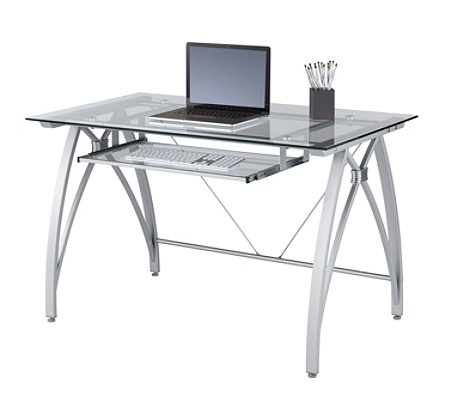 Realspace Vista Glass Computer Desk Silver Office Depot