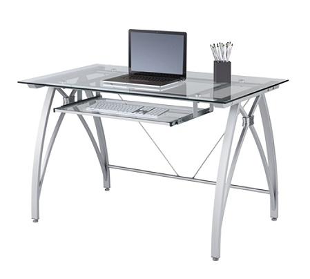 Realspace Vista Glass Computer Desk Silver Office Depot
