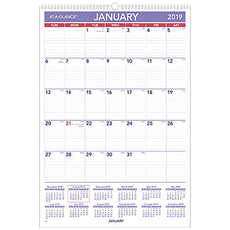 """AT-A-GLANCE® Monthly Wall Calendar, 15 1/2"""" x 22 3/4"""", January To December 2019"""