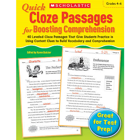 Scholastic Quick Cloze Passages For Boosting Comprehension: Grades 4–6