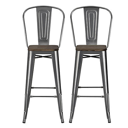 Stupendous Dhp Luxor Metal Bar Stools Charcoal Set Of 2 Item 993086 Ocoug Best Dining Table And Chair Ideas Images Ocougorg