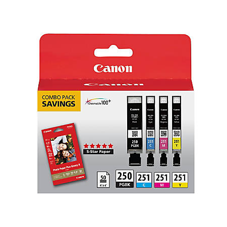 Canon PGI-250BK/CLI-251CMY Black/Color Ink Cartridges & PP-201 Paper Combo Pack