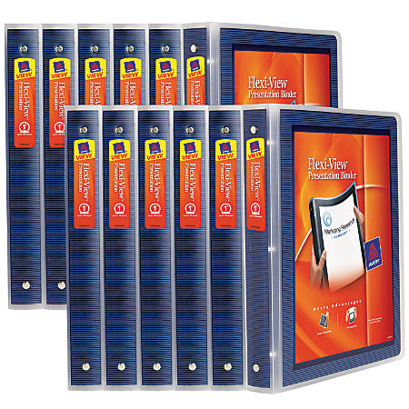 """Avery® Flexi-View Binders With Round Rings, 1"""" Rings, Navy, Case Of 12 Binders"""