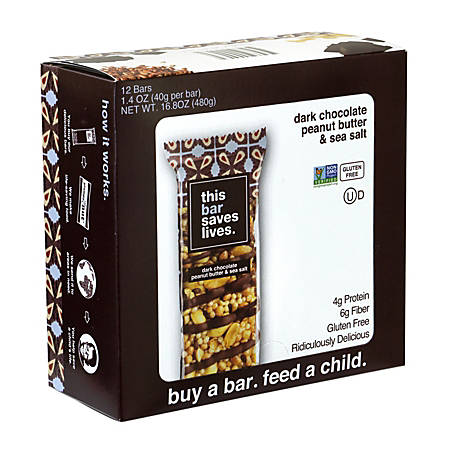 THIS BAR SAVES LIVES Dark Chocolate Peanut Butter & Sea Salt Bars, 1.4 oz, 12 Count