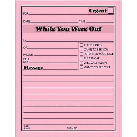 "TOPS™ Important Message Note Pads, 4 1/2"" x 5 1/2"", Pink, Pack Of 12"
