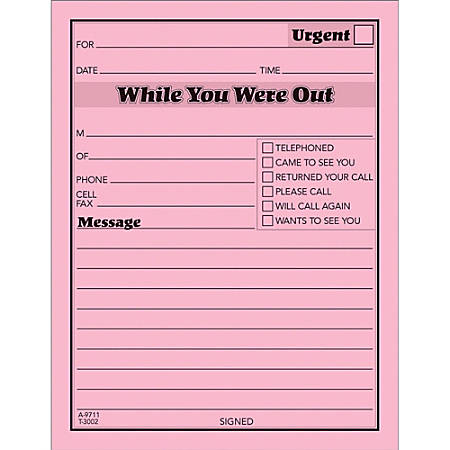 """TOPS™ Important Message Note Pads, 4 1/2"""" x 5 1/2"""", Pink, Pack Of 12"""