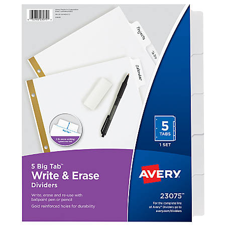 Avery® Big Tab™ Write-On 20% Recycled Tab Dividers With Erasable Laminated Tabs, 5-Tab, White