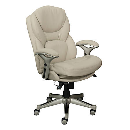 Serta Works Mid-Back Office Chair With Back In Motion Technology, Bonded Leather, Ivory/Silver