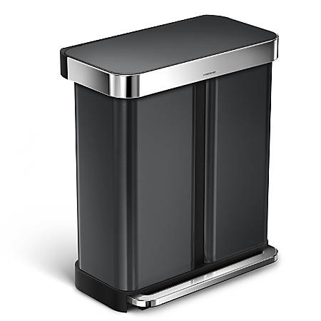 simplehuman Rectangular Liner Rim Dual-Compartment Recycling Stainless Steel Step Trash Can, With Liner Pocket, 15.3 Gallons, Black