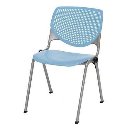 KFI Studios KOOL Stacking Chair, Sky Blue/Silver