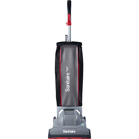 """Sanitaire 6.6 Quart Lightweight Upright Vacuum - 1.65 gal - Brushroll - 12"""" Cleaning Width - 30 ft Cable Length - Black, Gray"""