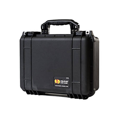 "Pelican 1450 Shipping Box with Foam - Internal Dimensions: 14.62"" Length x 10.18"" Width x 6"" Depth - External Dimensions: 16"" Length x 13"" Width x 6.9"" Depth - Double Throw Latch Closure - Black - For Multipurpose"