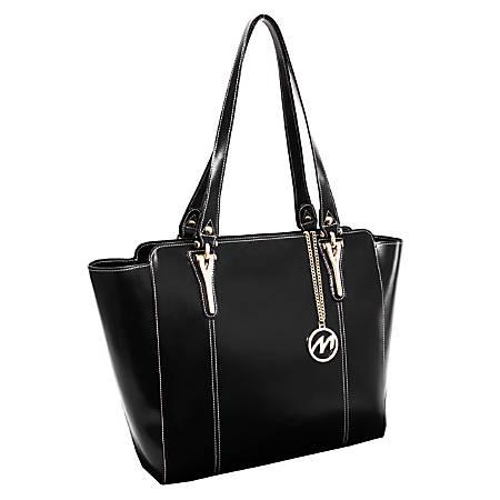 "McKleinUSA® M Series ALICIA Leather Shoulder Tote, 14""H x 6""W x 13""D, Black"