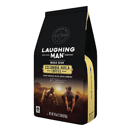 Laughing Man Colombia Huila Whole Bean Coffee, 18 Oz Bag