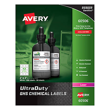 "Avery® UltraDuty™ GHS Chemical Labels, AVE60506, 2"" x 2"", White, Box Of 600"