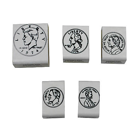 "Center Enterprises Coin Heads Rubber Stamp Sets, 1 1/2"" x 1 1/2"", 5 Stamps Per Set, Pack Of 3 Sets"