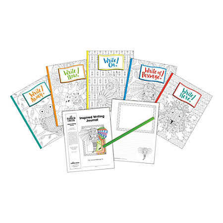 """Barker Creek Color Me! Boho-Inspired Writing Journals, 8-1/2"""" x 11"""", College Ruled, 48 Pages (24 Sheets), Set Of 5"""