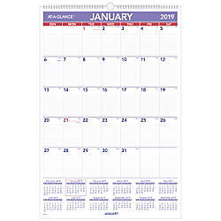 At A Glance Monthly Wall Calendar 20 X 30 January To December 2019