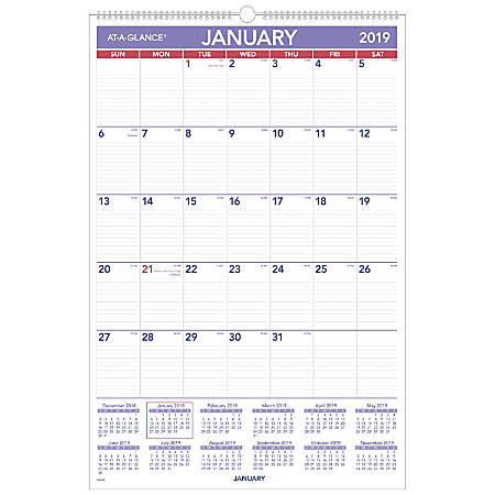 """AT-A-GLANCE® Monthly Wall Calendar, 20"""" x 30"""", January To December 2019"""
