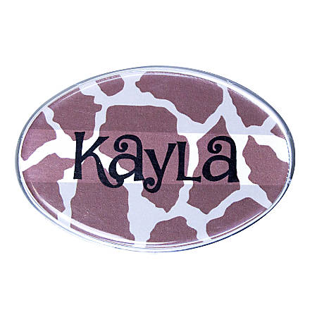 "The Mighty Badge™ Animal Print Name Badge Kit, 2 5/8"" x 1 3/4"", Giraffe Print, 10-Pk"