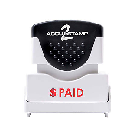 """Accu-Stamp2® Shutter One-Color Stamp, """"Paid"""", 1 5/8"""" x 1/2"""" Impression, Red"""