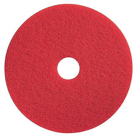 "Impact Products Conventional Floor Spray Buff Pad - 14"" Diameter - 5/Carton x 14"" Diameter x 1"" Thickness - Fiber - Red"
