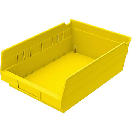 "Akro-Mils Grease/Oil Resistant Shelf Bin, 4"" x 8 3/8"" x 11 5/8"", Yellow"