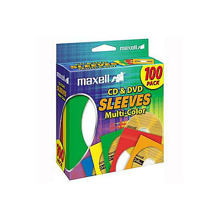 Maxell® CD/DVD Sleeves, Assorted Colors, Pack Of 100