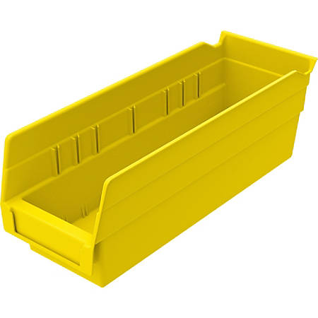 "Akro-Mils Grease/Oil Resistant Shelf Bin, 4"" x 4 1/8"" x 11 5/8"", Yellow"