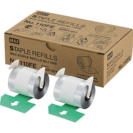 "MAX 110Fe Staple Refill - 4000 Per Cartridge - 9/16"" Leg - Holds 100 Sheet(s) - for Paper - Silver - 8000 / Box"