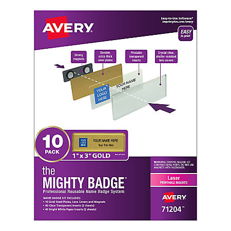 """Avery® The Mighty Badge Magnetic Badges For Laser Printers, 1"""" x 3"""", Gold, Pack Of 10 Badges"""