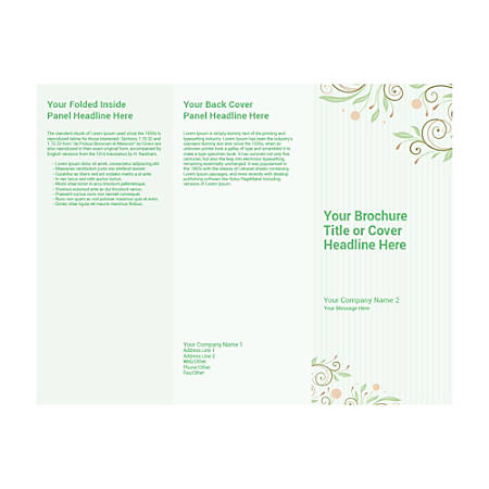 Customizable Trifold Brochure, Green Floral