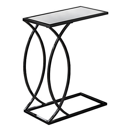 Monarch Specialties Mirror-Top Side Accent Table, Rectangular, Mirror/Black Nickel