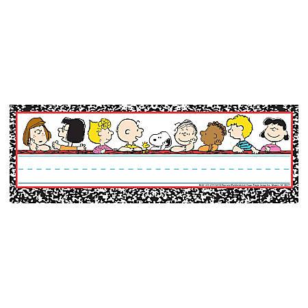 "Eureka Peanuts® Classic Characters Self-Adhesive Name Plates, 9 5/8"" x 3 1/4"", Multicolor, 36 Name Plates Per Pack, Bundle Of 6 Packs"