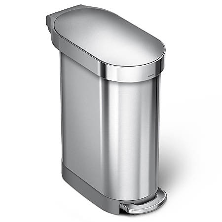 simplehuman Slim Stainless Steel Step Trash Can, With Liner Rim, 11.9 Gallons, Brushed Stainless Steel