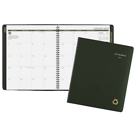 "AT-A-GLANCE® 13-Month Planner, 8 7/8"" x 11"", 100% Recycled, Green, January 2019 to January 2020"