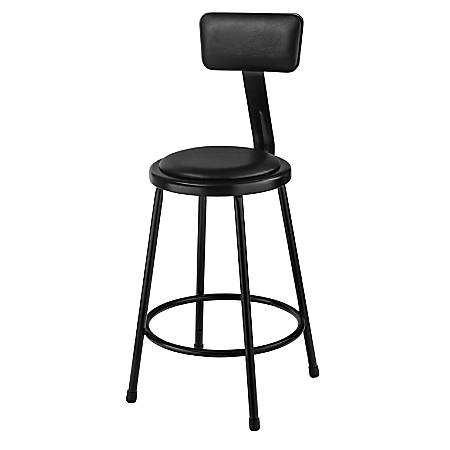 "National Public Seating 6400 Vinyl Stool With Back, 24"", Black"